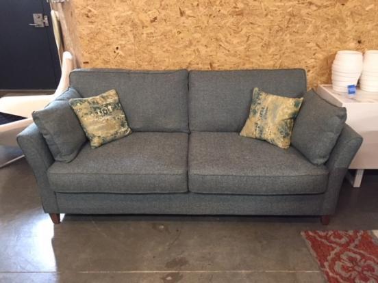 Clearance -3 Seater Sofa in Grey Tone Teal Fabric