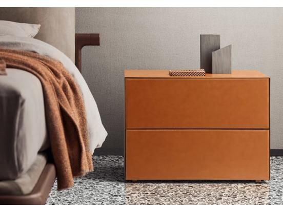 Pianca - Norma Leather 2 Drawer Bedside Table