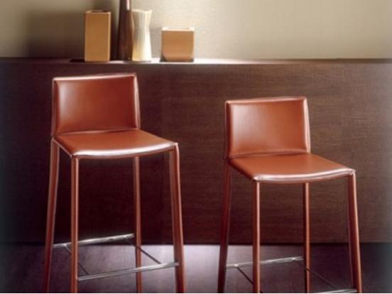 Bontempi Casa - Linda Barstool in Brown Leather Clearance