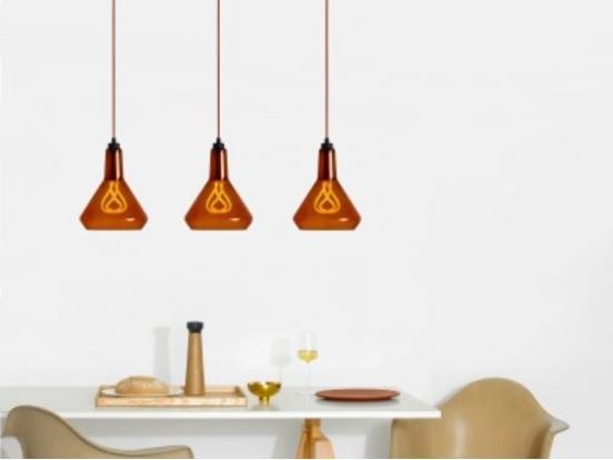 Plumen - Drop Top Lamp Shade Amber & Copper Drop Cap