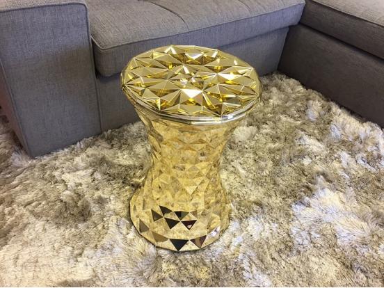 Kartell - Stone Stool Chrome & Gold Precious