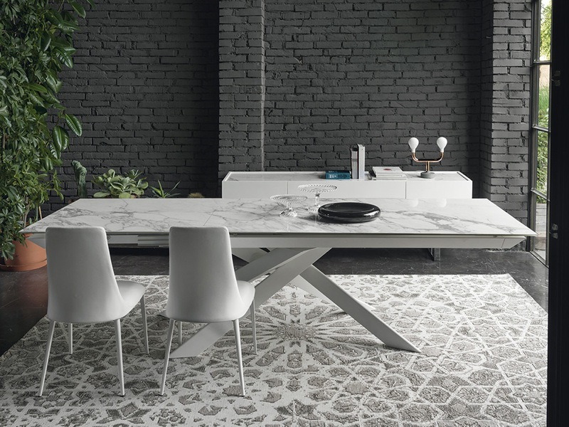 White marble and Opic white Ceramic Table